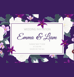 wedding invitation ropical purple violet flowers vector image