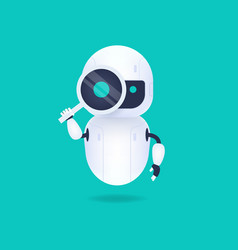 White android robot with magnifying glass vector