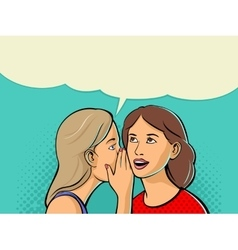 Woman whispering gossip or secret to her friend vector
