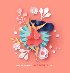 womens day card happy papercut flower woman vector image