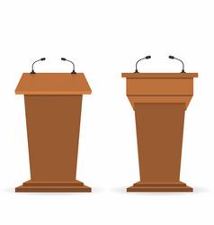 Wooden podium tribunes set stand rostrum with vector