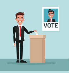 background scene man in suit vote for male vector image vector image