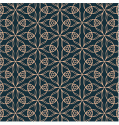 geometric contour pattern with floral elements on vector image vector image