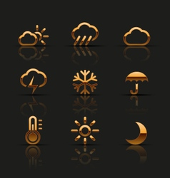 Golden weather icons set vector image vector image