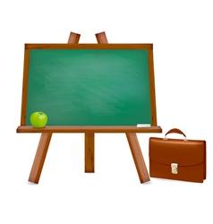 green desk with school supplies vector image