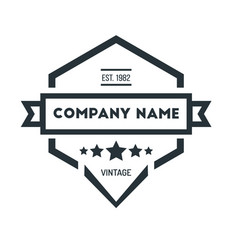 hexagon vintage hipster badge logo design vector image vector image