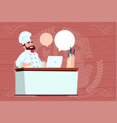 chef cook working at laptop computer cartoon vector image