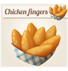 Chicken fingers in the paper basket Detailed vector image