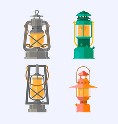 Different oil lamp collection retro gas lamps vector