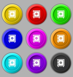 Safe money icon sign symbol on nine round vector image