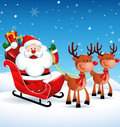 Santa Claus riding a sleigh with Reindeers vector image vector image