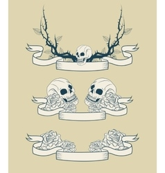 Skull branches and roses tattoo art design vector