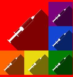 syringe sign set of icons vector image