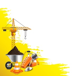 Yellow grunge background and construction objects vector image