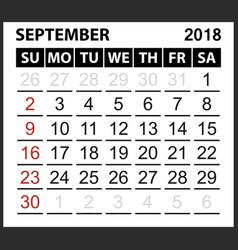 calendar sheet september 2018 vector image vector image