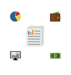 Flat exchequer set of document billfold graph vector