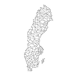 map of sweden from polygonal black lines and dots vector image