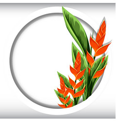 round frame with bird of paradise flowes vector image