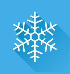 snowflake icon in flat style isolated on blue vector image
