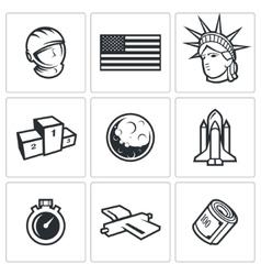 USA and moon icons vector image