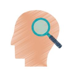 drawing profile head search creativity vector image vector image