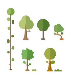 flat trees set with bush and isolated white vector image