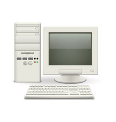 old computer isolated on white vector image vector image