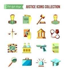 Prisoner at the bar Set of law and justice flat vector image