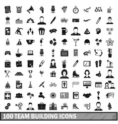 100 team building icons set simple style vector image