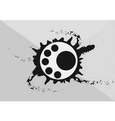 Abstract art circular logo with black ink splash vector