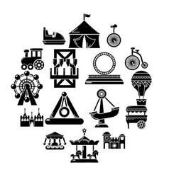 amusement park icons set simple style vector image