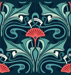 Art nouveau floral wallpaper emerald garden with vector