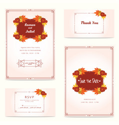 autumn wedding invitation with flower and oak leaf vector image