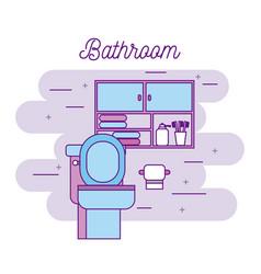 bathroom toilet paper cabinet furniture towels vector image