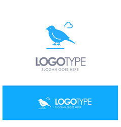 Bird british small sparrow blue solid logo with vector