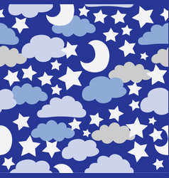blue and grey clouds with white stars vector image