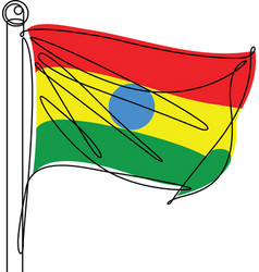 bolivia national flag one continuous line icon vector image