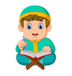 Boy with green caftan is reading al quran vector