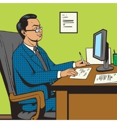 Businessman in office pop art retro style vector image