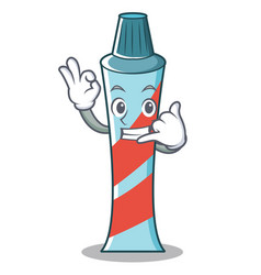 Call me toothpaste character cartoon style vector