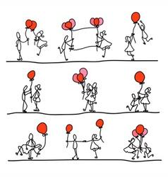 cartoon character happiness wedding vector image