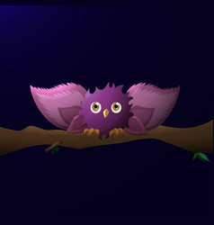 Cartoon owl with wide wings sits on a branch at vector