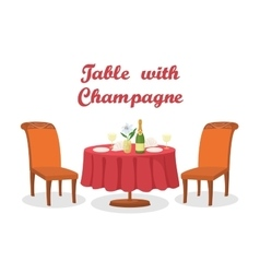 Cartoon Table with Wine Isolated vector