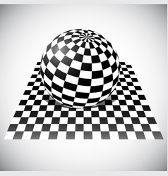 Checkered sphere on checkered plane 3d abstract vector