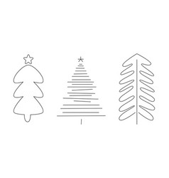 christmas trees set hand drawn monochrome fir vector image