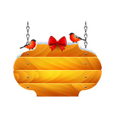 christmas wooden sign with bullfinches isolated vector image