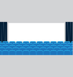 cinema with white screen and blue seats vector image