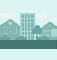 City background in blue colors in flat vector