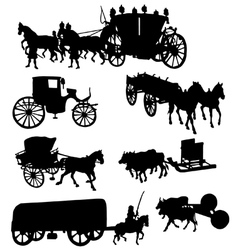 Collection of silhouettes of vintage carriages vector