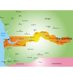 color map of Gambia vector image